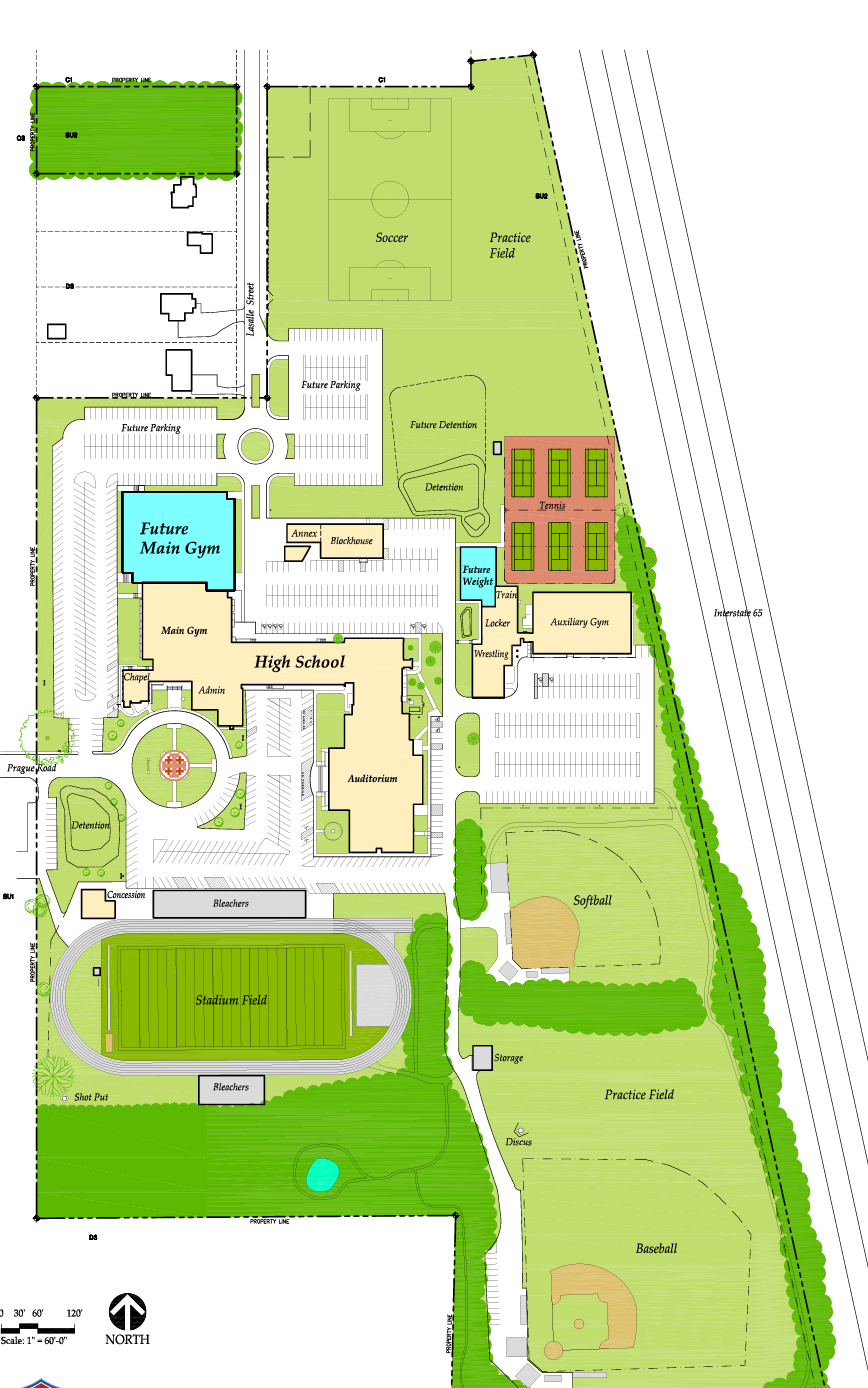 Master Site Plan which shows the location of the new weight room and the gym